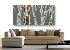 VERY LARGE Wall Art Print tree Art Rolled canvas soft pastels Gray white brown burnt orange Abstract Landscape Office living room Artwork
