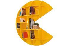 Pac-Man Shelf / Bookcase Neat for a rec room or kids room Sala Nerd, Deco Gamer, Bookshelf Inspiration, Geek Room, Video Game Rooms, Video Games, Video Game Decor, Geek Decor, Game Room Decor