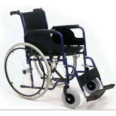 Silla de Acero Plegable Ruedas 600 mm. Silla de ruedas plegable en acero pintado en azul.Con asiento y respaldo en Nylon negro acolchado, con bolsillo posterior.Rueda delantera de 20 cm y trasera de 60 cm.