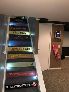Custom Book Title Decals for stairs * the price is for EACH step riser. ANY title! Just send your book list & measurements to get started! Custom Book Title Decals for stairs the price is for EACH