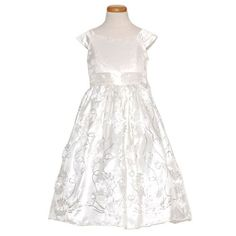 Sweet Kids Intricate White Flower Sequence Embordied Taffeta Dress