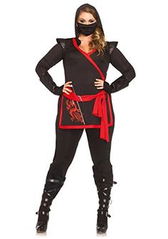 Plus Size Women Halloween Costume Shopping for Curvy Girls  4 Piece Ninja costume alluring sexy for any occasion