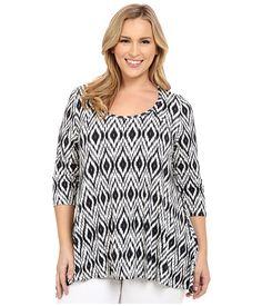 Karen Kane Plus Plus Size Print 3/4 Sleeve Handkerchief Top