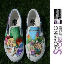 e7bc8c2e53 Vans Alice in Wonderland Nel Paese delle Meraviglie Slip On Painted Liberty  Art Painted Canvas Shoes