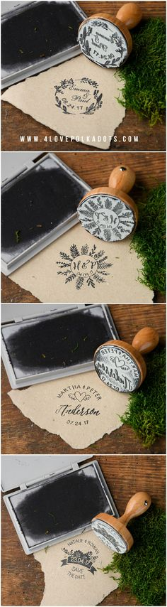 Wooden Wedding Custom Stamps