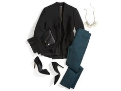 Dear stylist: I love this entire outfit! It would make a nice Christmas outfit. If it came in a petite with the pants in an inseam of 25 or it would be perfect! I love the color of pants! Holiday Fashion, Autumn Winter Fashion, Winter Wear, Casual Outfits, Cute Outfits, Dinner Outfits, Blazer Outfits, Pants Outfit, Fall Outfits