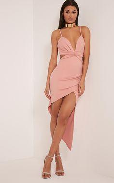 Rosalie Dusty Pink Twist Detail Wrap Midi Dress