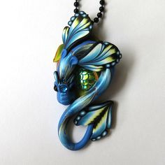 Blue Dragon Necklace Fairy Rider, Miniature Polymer Clay Dragon Pendant by Claybykim on Etsy