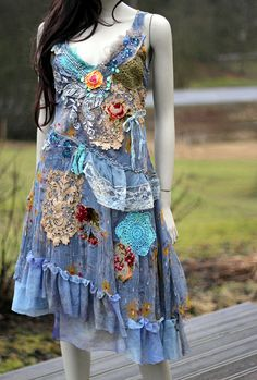 The blue dress--  whimsy bohemian dress, embroidered, reworked