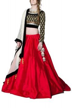 Red lehenga with Black Brocade Blouse and a White dupatta
