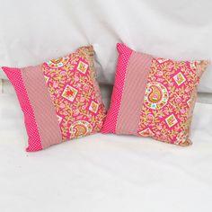 Hot Pink / Bright Pink Chintzy Cushions.