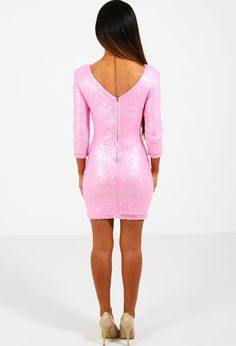 Nothing says PB more than a pink bodycon dress and we are seriously crushing on this beaut! This pink sequin dress fastens with an exposed zip and features a lush V back. With length sleeves this pink mini dress will become one of your party wardrobe Pink Sequin Dress, Pink Bodycon Dresses, Pink Mini Dresses, Fashion Models, Fashion Brands, Sequins, Boutique, My Style, How To Wear