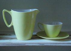Vintage Retro Gaydon Melamine Picnic Items:  Lemon Yellow Jug, Cup & Saucer