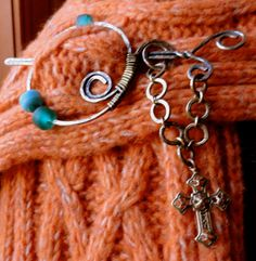 Penannular Brooch Scarf Pin Prayer Shawl Pin by KCRlehrstudio, $15.00