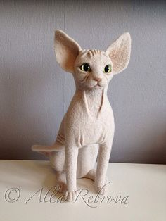Custom Portrait needle felted wool doll Sphynx cat by coalla