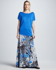 Dolman-Sleeve Crewneck Tee & Printed Maxi Skirt by DKNY at Neiman Marcus.