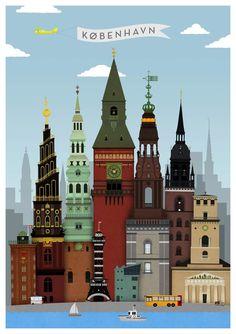 Poster: København by TOT Copenhagen.    Towers of Copenhagen