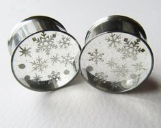 Snowflake Ear Plugs, Ear Tunnels, Winter Plugs, Glitter Plugs, Silver Christmas Gauges, Holiday Gifts, Winter Gauges 0g to 2 inch