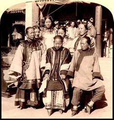 Wealthy Chinese women with bound feet (Beijing, 1900). Foot binding was a symbol of women's oppression during the reform movements in the 19th and 20th centuries