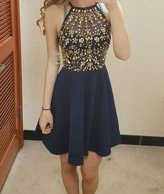 Unique round neck rhinestones short prom dress, cute homecoming dress