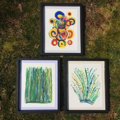 """Taking """"Jungle curtain"""", """"Hula hoops"""", and """"Headdress?!"""" outside for a photo shoot.  Got to take advantage of this weather!  #funart #abstract #colourfulpaintimgs #art #painting"""