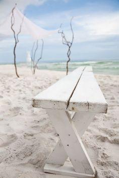Panca sulla spiaggia - Banc sur la plage - Bench on the beach White Bench, Destin Florida Wedding, Beach Ceremony, Wedding Ceremony, Wedding Bench, Ceremony Seating, Wedding Hire, Ceremony Backdrop, Wedding Seating