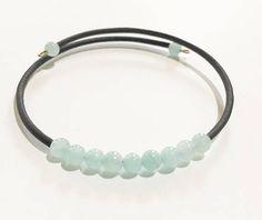 Pale Seafoam Green Jade Beads Bracelet ,  Gemstone Beaded Bracelet , Memory Wire Bracelet, Bohemian Bracelet, Wrap Bracelet