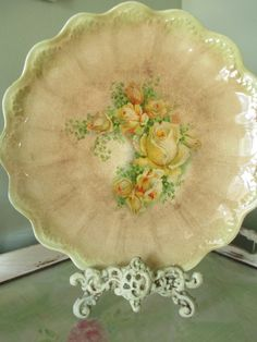 Vintage Plate with Yellow Roses  Houseware by myplace4tea on Etsy, $48.00