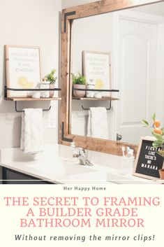 If those plastic mirror clips are keeping you from framing your builder grade bathroom mirror, I've got a trick that will solve all your problems!  // diy bathroom mirror frame, remodel and decor, plastic mirror clips, how to frame and hang a bathroom mirror, diy, easy, farmhouse, hack Diy Bathroom Remodel, Diy Bathroom Decor, Simple Bathroom, Diy Home Decor, Diy Mirror Decor, Mirror Ideas, Shower Remodel, Bathroom Ideas, Large Bathroom Mirrors