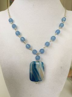 Gentle necklace Boho Anniversary gift Bright blue necklace with 6 colors of glass beads Blue necklace Ethnic decor Crystal necklace