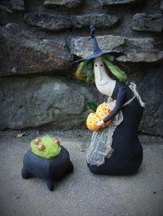 OOAK Primitive HALLOWEEN Folk Art Witch Doll with Pumpkin and Cauldron  #NaivePrimitive