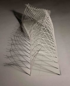 Image 9 of 12 from gallery of Naves Temporary Pavilion Proposal / Appareil. Photograph by Appareil Folding Architecture, Bamboo Architecture, Architecture Drawings, Interior Architecture, Nachhaltiges Design, Nest Design, Geometric Construction, Arch Model, Bridge Design