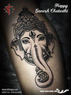 Elephant Art Tattoo Best Of Grey Ink Ganesha Head Tattoo by Yury Polyakov Buddha Tattoos, Ganesha Tattoos, Hindu Tattoos, Ganesha Tattoo Sleeve, Henna Elephant Tattoos, Tatoo Henna, Elephant Tattoo Design, Mandala Tattoo, Lotus Tattoo