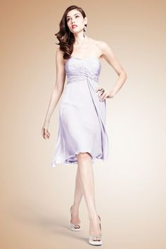 Stunning lavander blue  chiffon dress with a ruched sweetheart bodice that twists and flows into the whimsical full skirt.