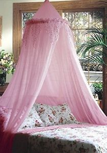 Bedroom-Mosquito-Protection-Net-Insects-Bed-Canopy-Sequined-Valance-Curtain-Pink