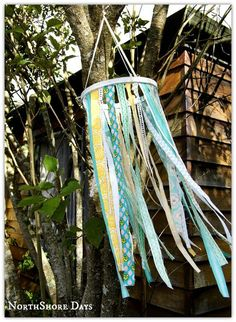 DIY Fabric Candelier - use your fabric scraps and ribbon...a fun easy project
