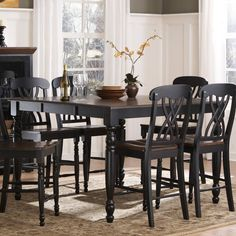 Weston Home Ohana Counter Height Dining Table with Leaf Black & Oak - 1393BK-36