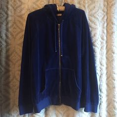 Juicy couture royal blue gold track zip up new This is innkeeper condition- aside from the size tag being taken off. It has a stretch to it but I wore it baggy. Super cute for weekend lounge or a cool morning run! Juicy Couture Tops Sweatshirts & Hoodies