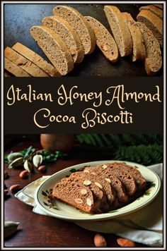 Simple Classic Italian Honey Almond Cocoa Biscotti: This recipe for Simple Clas.Simple Classic Italian Honey Almond Cocoa Biscotti: This recipe for Simple Classic Italian Honey Almond Cocoa Biscotti is a variation of the traditional Italian Honey Cookies, Biscotti Cookies, Galletas Cookies, Almond Cookies, Italian Biscuits, Italian Cookies, Fun Desserts, Delicious Desserts, Dessert Recipes