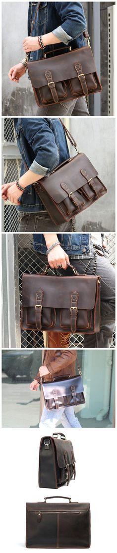 Full Grain Leather Men Tote Briefcase Men Shoulder Messenger Bag Satchel ZY407 Laptop Briefcase, Briefcase For Men, Leather Briefcase, Men's Totes, Leather Men, Messenger Bag, Suitcase, Satchel, Pocket