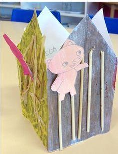 Voici la maison des 3 petits cochons que nous avons fabriquée cette semaine et qui nous a servi de support de langage. Pouvoir manipuler les marionnettes a bien aidé certains enfants à prendre la parole. Dans un premier temps, les enfants ont peint les... 3 Little Pigs Activities, Fairy Tale Activities, Preschool Activities, Wolf, Creative Curriculum, Three Little Pigs, Little Red, 3 D, Fairy Tales