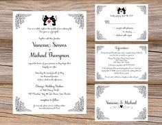 Disney inspired kissing Mickey & Minnie Mouse Wedding Invitation Suite by Sugar Queens / romantic / fairytale / happily ever after