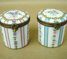 Antique Vintage Limoges 19th Century Pair of Hand Painted French Porcelain Boxes