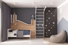 Kids room ideas – Home Decor Designs Cool Kids Bedrooms, Kids Room Design, Kid Spaces, Kid Beds, Kids Furniture, Girl Room, Room Interior, Climbing Wall, Instagram Design