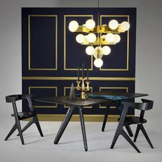 Slab Chair, Slab Table, Plane Chandelier and Gem Candelabra Gold, all designed and produced by Tom Dixon. Get The Originals at Tom Dixon, Contemporary Floor Lamps, Contemporary Furniture, Slab Table, London Design Festival, Planer, Art Deco, House Design, Interior Design