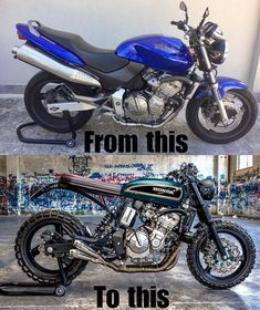Before and after of this Honda Hornet by We support the tracker & scrambler community and celebrate the builders. Cb400 Cafe Racer, Cafe Racer Honda, Honda Scrambler, Cafe Racer Bikes, Cafe Racer Motorcycle, Vespa, Moto Cafe, Cafe Bike, Honda Bikes