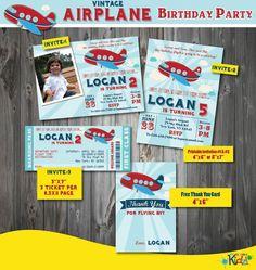 Airplane Birthday Invitation, Vintage Airplane Birthday Invitation, Printable Airplane Party Invitation, Airplane Invitation, First Airplane