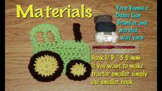 Free Crochet Tractor Applique | Crochet Tractor Applique, Embellishment, Crochet toy - YouTube