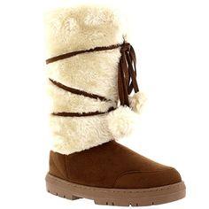 Womens Pom Pom Tall Rain Fur Lined Snow Winter Flat Warm Lace Up Boots