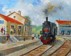 "Tableau ""La Gare"" - peintures-axelle-bosler : Peintures par peintures-axelle-bosler"